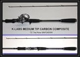 "K-Labs Medium Tip Carbon Composite 7'2"" Two Piece Baitcaster Rod"